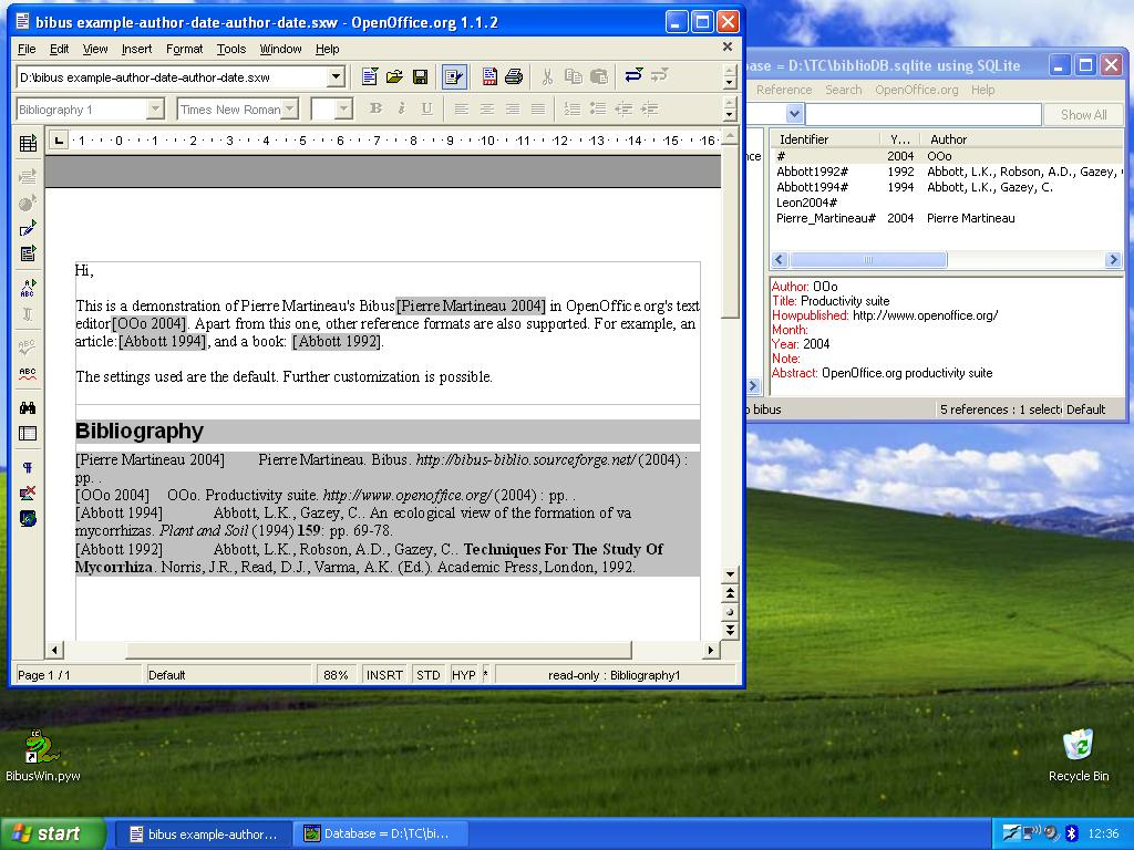 Bibus home main window in windows98 bibus interacting with openoffice under windowsxp thanks to leon commandeur thecheapjerseys Images